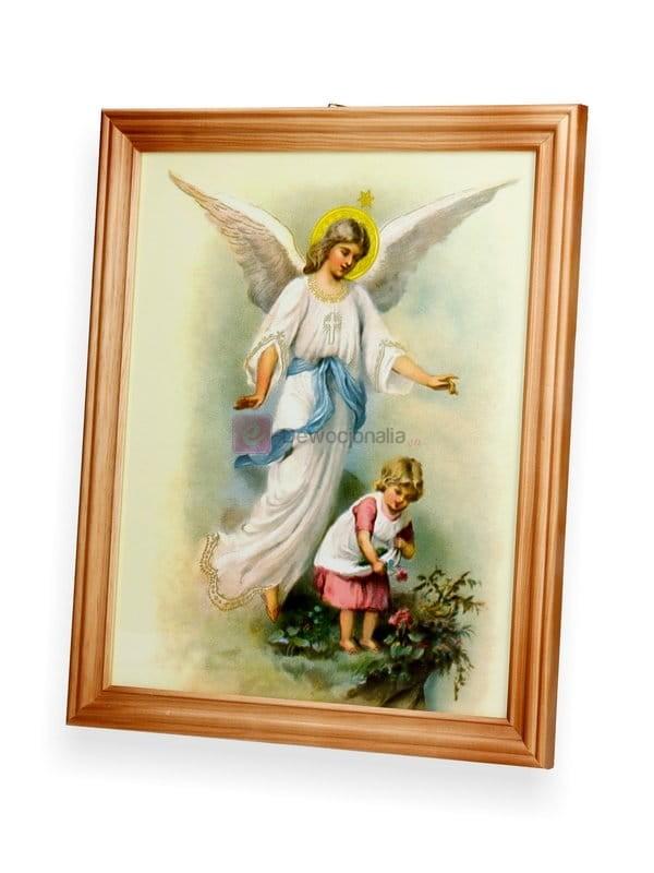 Obraz Anioł Stróż Czuwa Nad Dziewczynką 27x23 Dewocjonalia Sklep Internetowy Chrzest Komunia